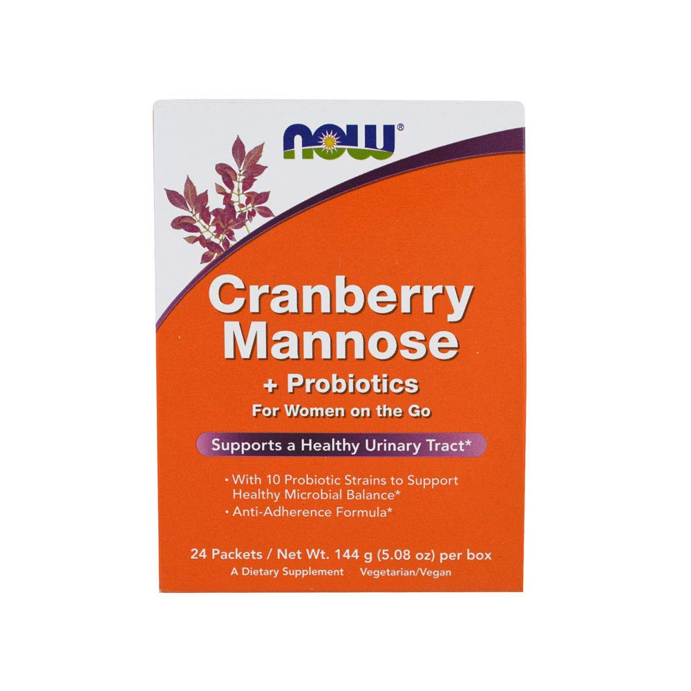 NOW Supplements, Cranberry Mannose + Probiotics with a blend of 10 Probiotic Bacterial Strains, 24/Box