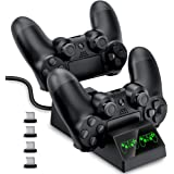 PS4 Controller Charger, EALNK PS4 Charger for Controller DualShock 4 Charging Station USB Fast Charging Dock for Sony Playstation 4 /PS4 /PS4 Pro /PS4 Slim Controller with 4 Micro USB Charging Dongles