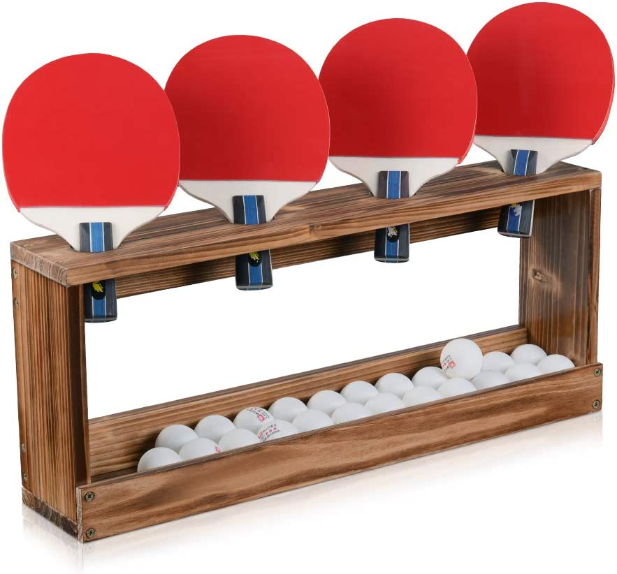 Sunix Ping Pong Paddle Storage Rack Table Tennis Racket Display Wall Mounted Holder for 4 Paddles and Balls Storage in Bar Room, Game Room, Office Break Room, Garage, Bedroom, Home