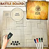 The Original Battle Grid Game Board - 27'' x 23'' - Dungeons Dragons Mat - Dry Erase Square & Hex RPG Miniatures Map Grids - DND 5th Edition Table Top Dice Set - Wizard The Coast Starter & Master