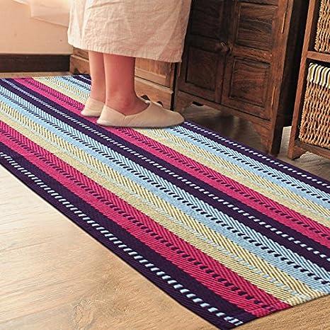 PRAGOO Striped Cotton Rug Hand Woven Braided Kitchen Rug Runner Washable  Bedroom Floor Carpet Mat Multicolor