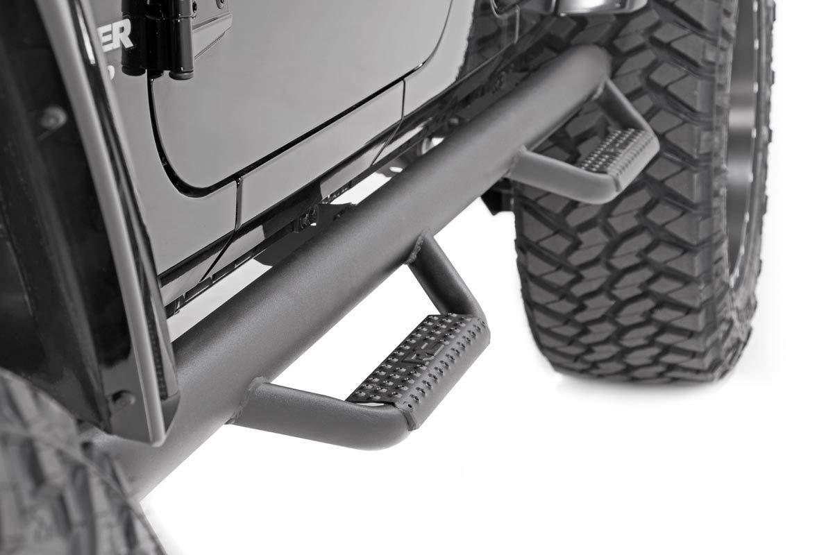 Jeep Wrangler JK 4DR Drop Side Steps Rock Sliders 90764 Rough Country Nerf Bar Hoop Steps Fits 2007-2018