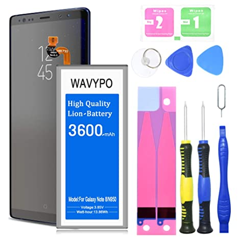 Galaxy Note 8 Battery, Wavypo 3600mAh Replacement Battery for Samsung  Galaxy Note 8 [SM-N950 N950T N950A N950P N950V N950R4 ] with Repair Toolkit  [24