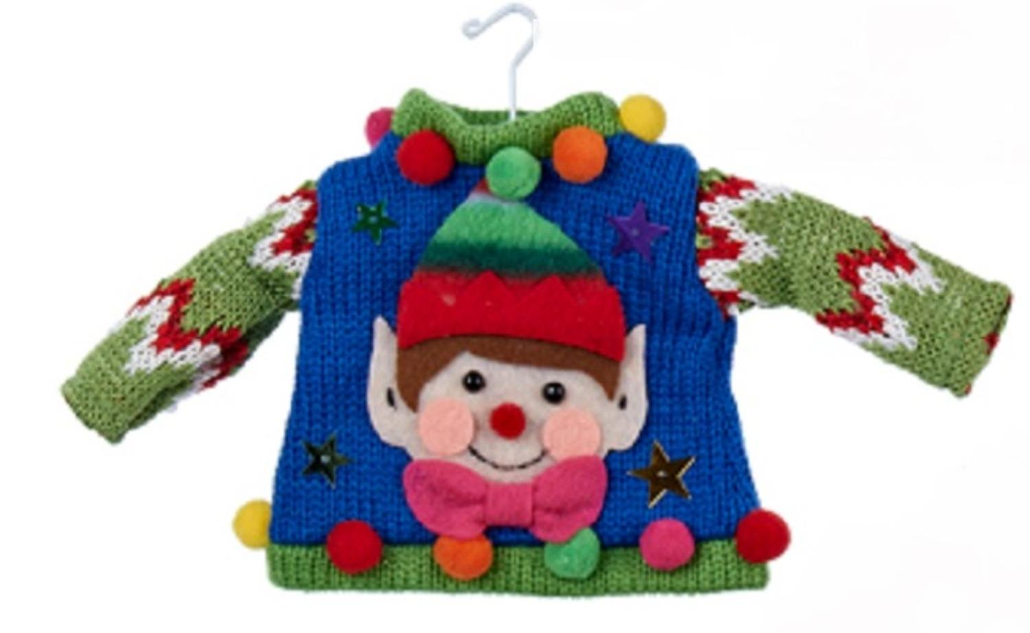 Ugly Elf Sweater Christmas Ornament