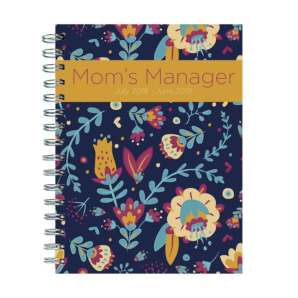 "TF Publishing 19-9105A July 2018 - June 2019 Mom's Manager Medium Weekly Monthly Planner, 6.5 x 8"", Navy Blue & Gold PDF"