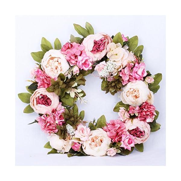 LI HUA CAT Simulation Flowers Garland Wreath Rattan Door Hanging Porch Artificial Flowers Peony Wedding Arrangement Decor Silk (Pink Small)