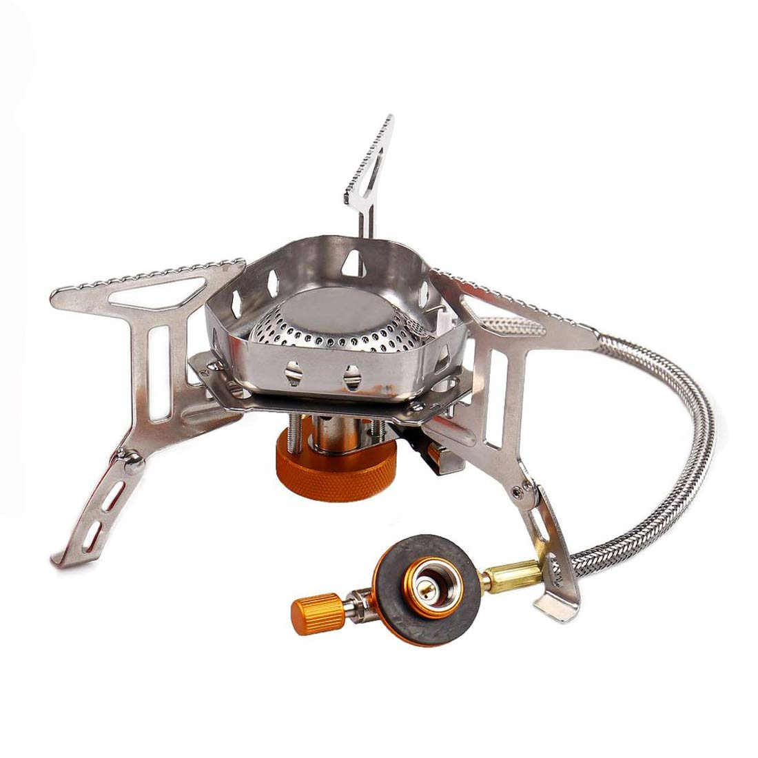 Gas Camping Stove 3500W Foldable Mini Gas Stove with Piezo Ignition and Storage Box Durable Windproof Gas Stove Portable Cooker Burner for Outdoor Backpacking Camping Picnic Hiking and Trekking