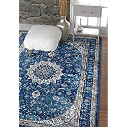 "Well Woven Djemila Medallion Blue Vintage Persian Floral Oriental Area Rug 8 x 11 (7'10"" x 10'6"") Distressed Modern Thick Soft Plush"