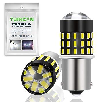 TUINCYN - Bombilla LED superblanca de 650 lúmenes 1156 BA15S SMD 54 3014 1141 7506 1095