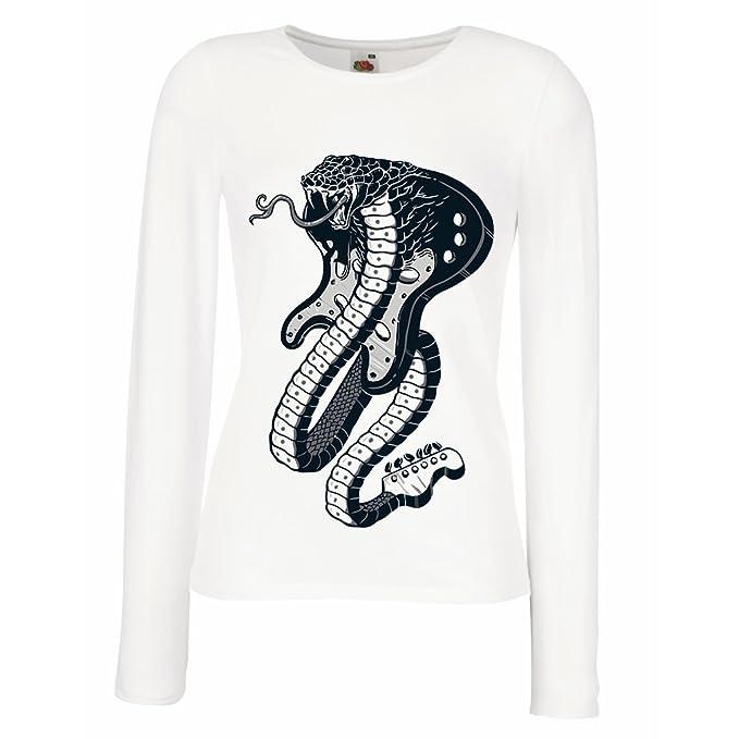 lepni.me Camisetas de Manga Larga para Mujer Guitarra eléctrica Serpiente Cobra, Amante del Rock and Roll.: Amazon.es: Ropa y accesorios