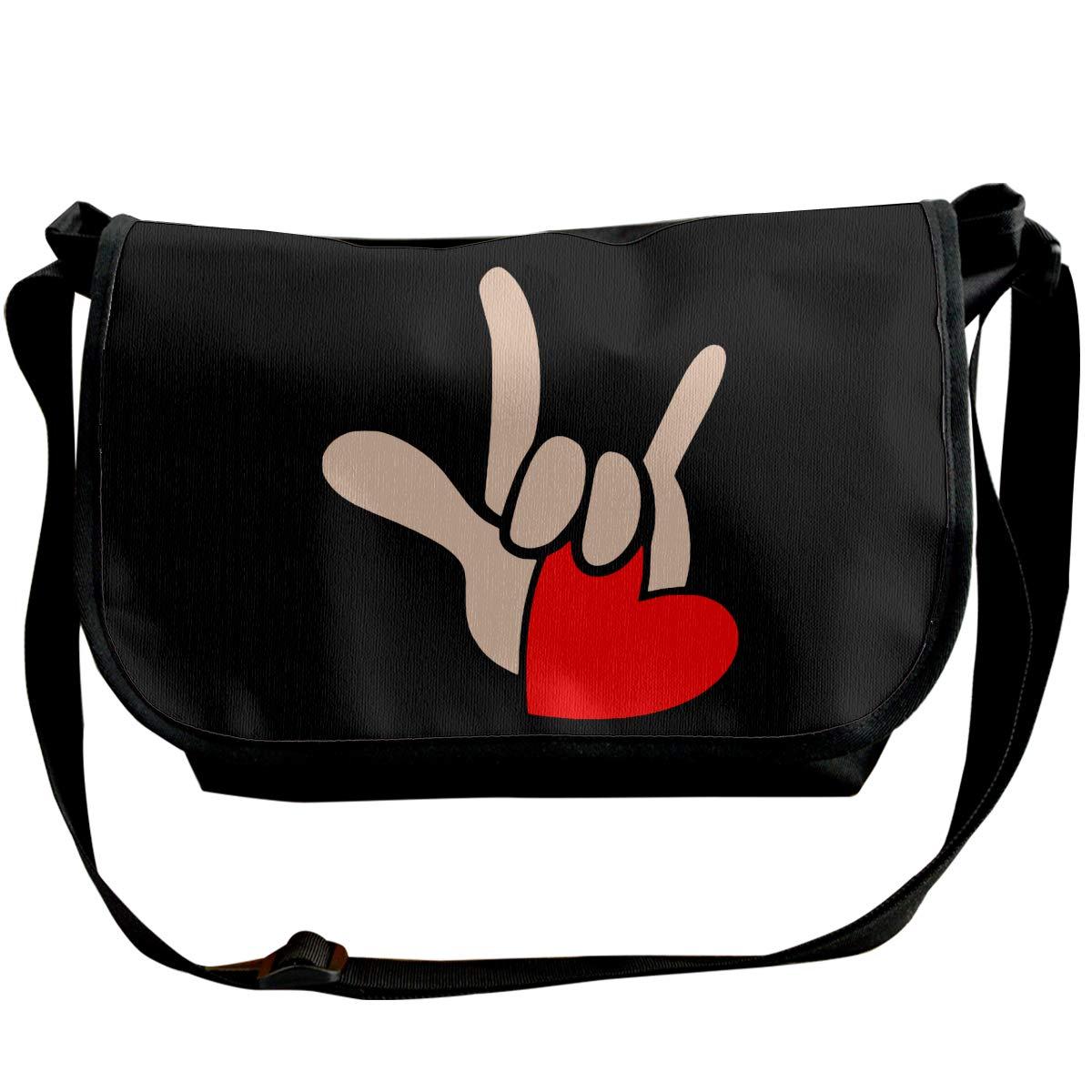 Futong Huaxia ASL I Love You Sign Language Travel Messenger Bags Handbag Shoulder Bag Crossbody Bag Unisex