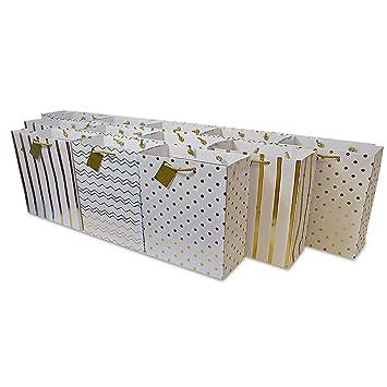 Amazon.com: 12 unidades. Bolsas de regalo de papel dorado ...