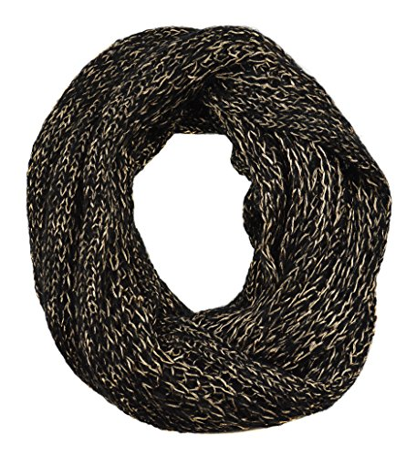 Sassy Scarves Women's Skinny Cable Knit Design Loop Infinity Winter Scarf (Black/Gold) - Knit Ruana Pattern