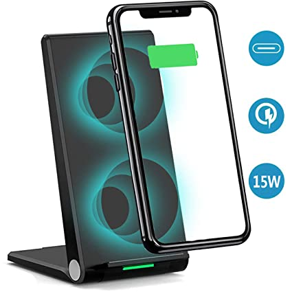 Gamtec Stand Up Fast 15W Wireless Charger,Dual Coil Foldable USB C Qi 2 in 1 Stand/Flat Charging Pad Station Phone Holder Compatible iPhone ...
