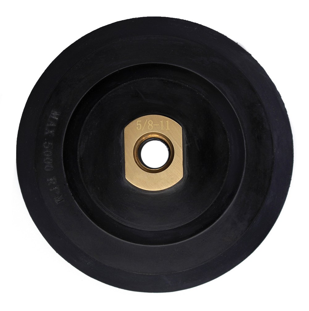5 inch Rubber Backer Pad/Hook and Loop Backing Pad with Arbor 5/8''-11 for Grinder