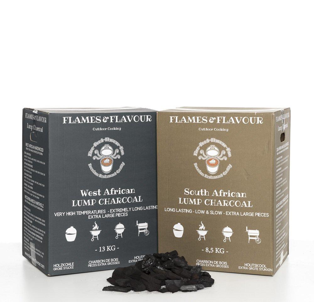 1 x 8,5 kg Südafrikanische Schwarzholz-Akazie + 1 x 13 kg Westafrikanische Hartholz Premium Restaurantqualität Holzkohle - Grillkohle - Steakhousekohle