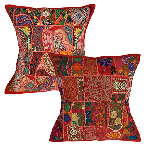Lalhaveli Embroidered & Patchwork Design Cotton Square Cushion Covers Set of 2 Pcs 20 X 20 Inches (Cushion Cover Designer)