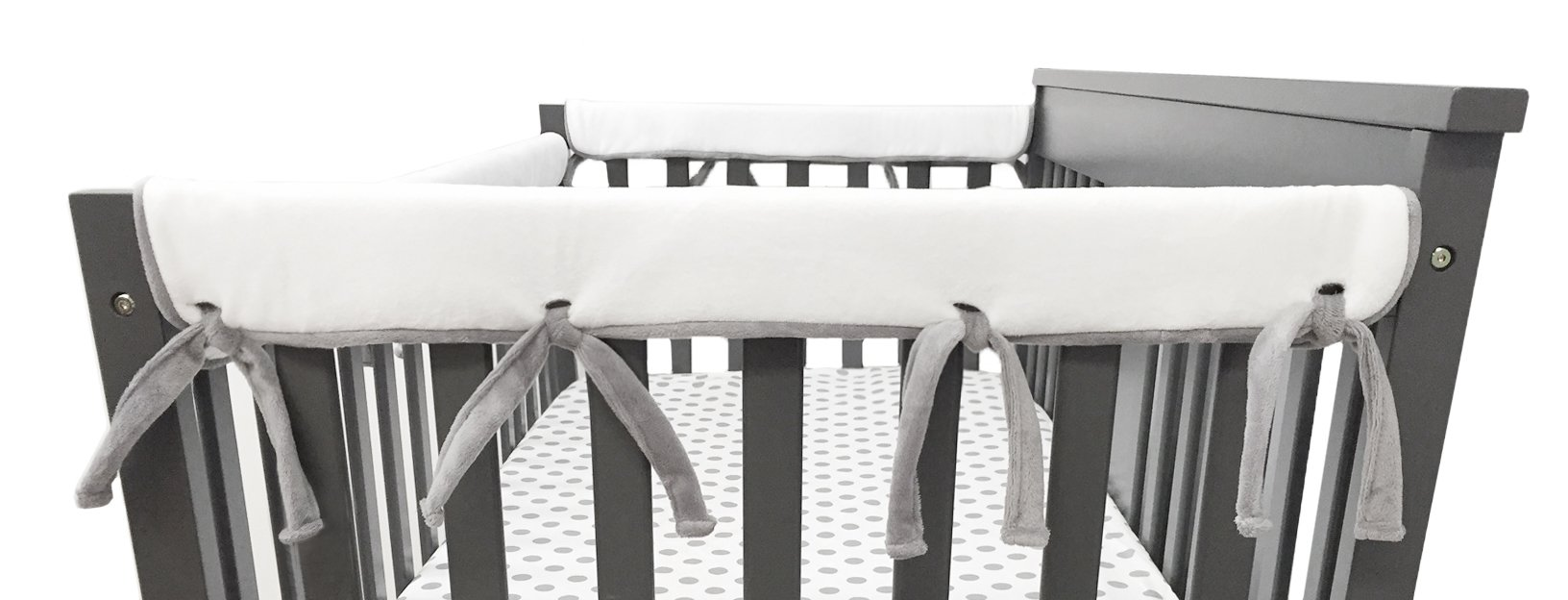 American Baby Company 2 Pack Heavenly Soft Chenille Reversible Crib Rail Cover for Side Rails, Gray/White, Narrow for Rails Measuring up to 8'' Around
