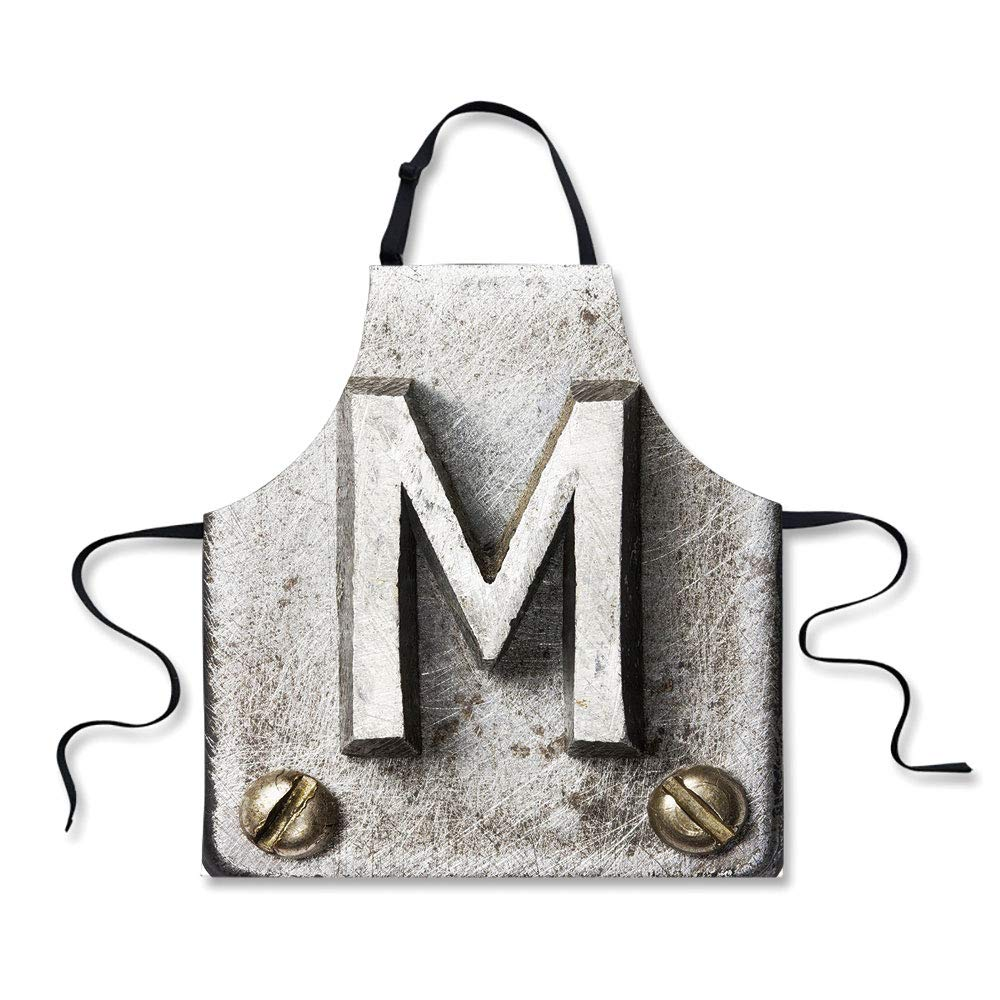 iPrint Kitchen Apron,Letter M,Zinc Iron Steel Alphabet Typeset with Grunge Scratched Texture Industrial Image Decorative,Silver Gold,Fashion Apron.29.5''x26.3''