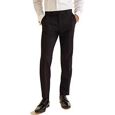 2K Store Men's 50% Cotton Slightly Stretchy Slim Fit Casual Pants, Flat Front Trousers Dress Pants for Men at Men's Clothing store
