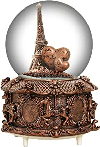 HIKEL Paris Snow Musical Globes Retro Eiffel Tower and Carousel Base Water Globe for Birthday Gifts Kids Girls Gift Creative Desktop Decoration (Silver) (Brown)
