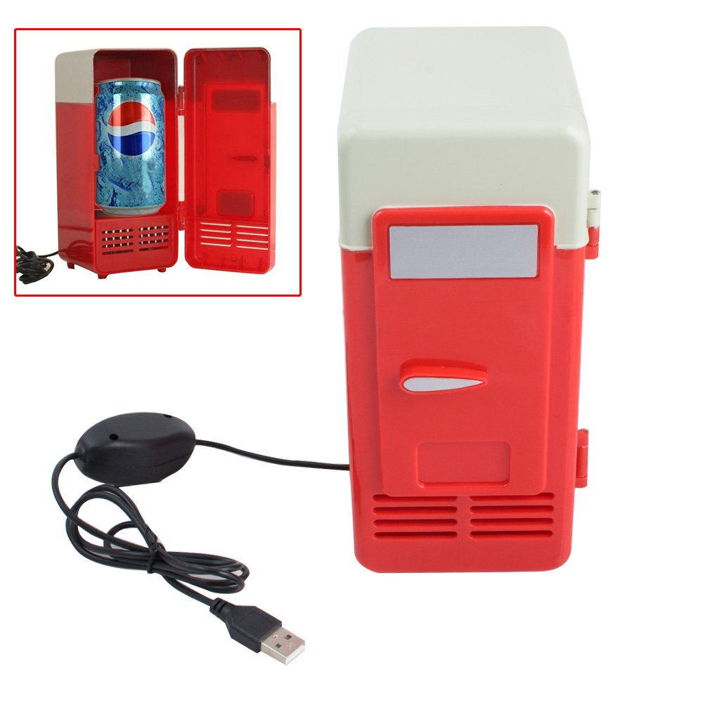 Zorvo Mini USB Fridge Cooler Beverage Drink Cans Handy Cooler/Warmer office car Refrigerator gadget (Red)