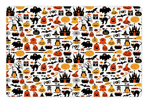 Lunarable Halloween Pet Mat for Food and Water, Halloween Group Candies Owls Castles Ghosts October 31 Theme, Rectangle Non-Slip Rubber Mat for Dogs and Cats, Orange Yellow Black