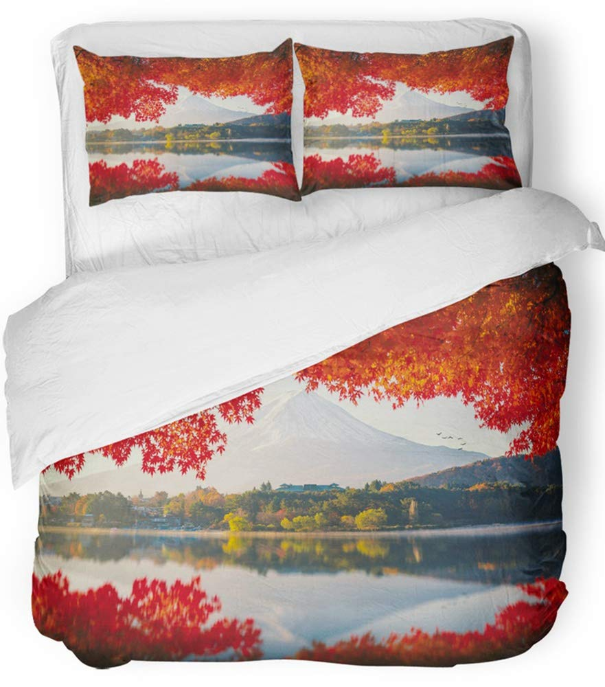 Emvency 3 Piece Duvet Cover Set Breathable Brushed Microfiber Fabric Red Japan Mt Fuji in Autumn on Sunrise at Lake Kawaguchiko Fall Landscape River Bedding Set with 2 Pillow Covers Twin Size
