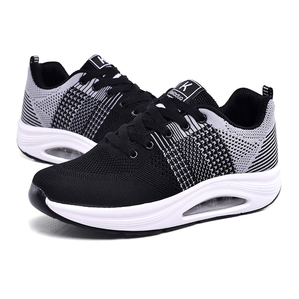 Claystyle Womens Mesh & Leather Lace Up Platform Wedges Walking Sneakers Sports Shoes(Gray,US: 7) by Claystyle Shoes (Image #6)