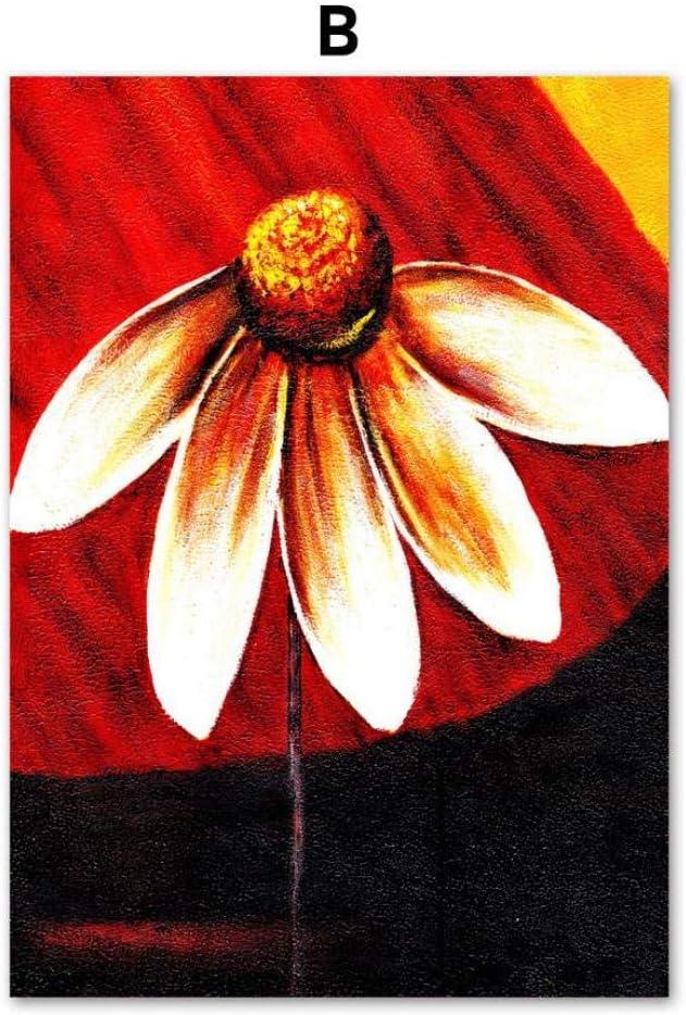 Pintura al óleo Planta de flores Carteles e impresiones nórdicos Arte de la pared Pintura de la lona Cuadros de la pared para la sala de estar Dormitorio Decoración para el hogar 60X100cm Sin marco B