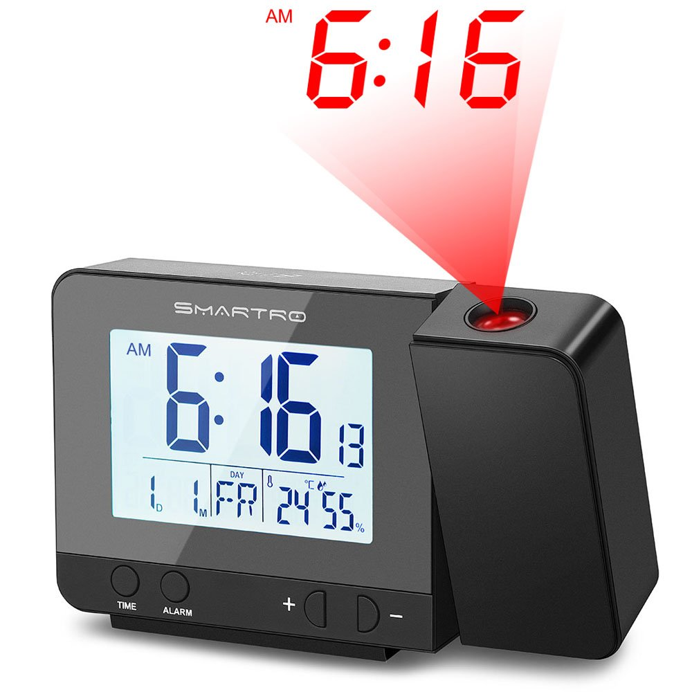 SMARTRO Digital Projection Alarm Clock with Indoor Thermometer Hygrometer, USB Charger, Dual Alarm Clocks for Bedrooms, Travel, Heavy Sleepers, AC & Battery Operated SC31