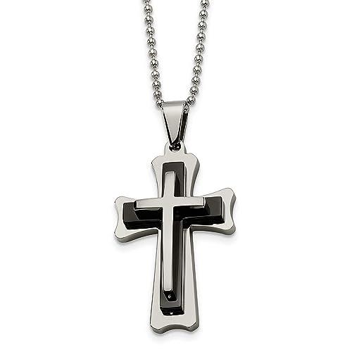 Amazon.com: Collar con colgante de cruz de acero inoxidable ...
