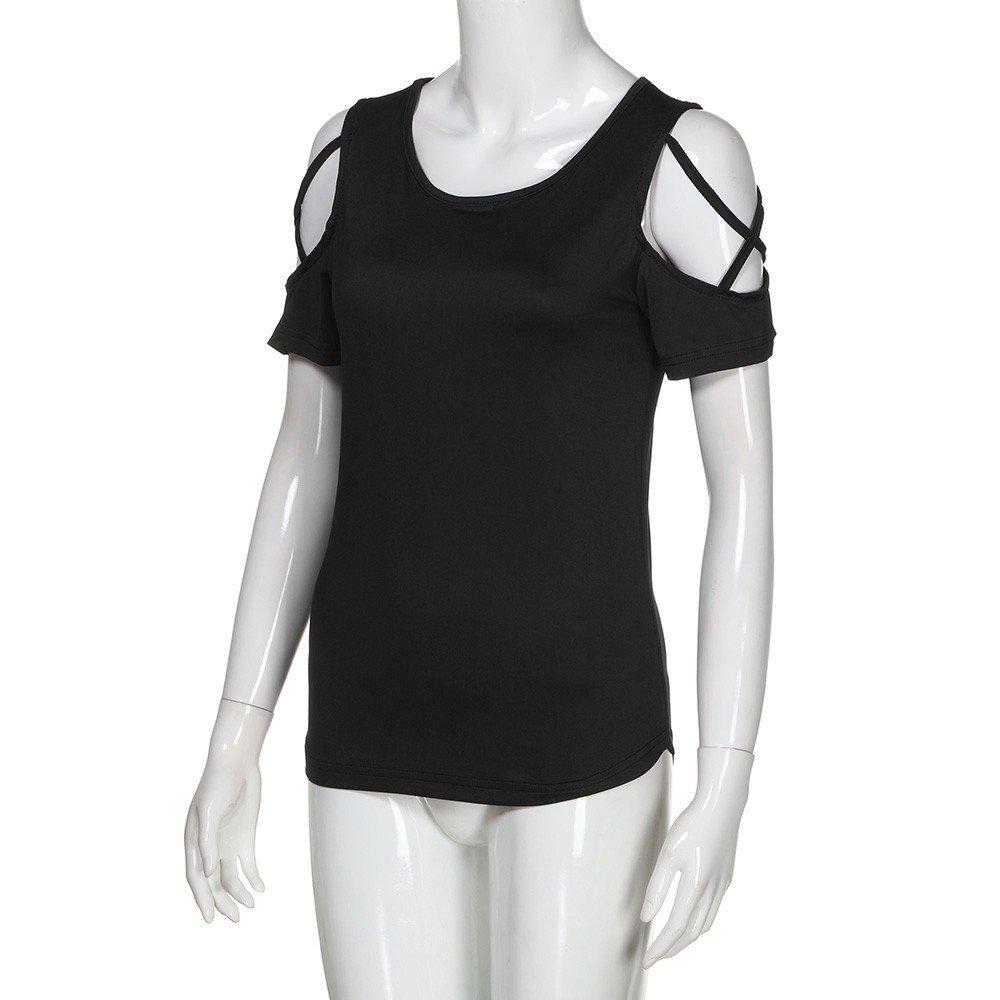Womens Short Sleeve Crewneck Shirt Ladies Cold Shoulder Casual Tops Shirts Blouse