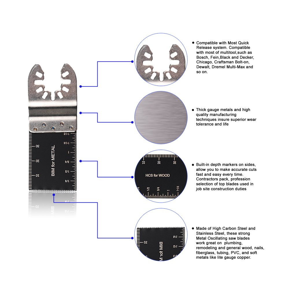 liberaci/ón r/ápida oscilante herramienta multifunci/ón juego de cuchillas para Fein Multimaster oxoxo mezcla de madera y metal hojas de sierra oscilante Negro /& Decker Bosch Craftsman