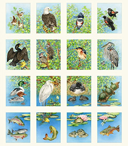 1 Panel Freshwater Wildlife by Tracy Lizotte Elizabeth Studios 100% Cotton Quilt Fabric ELS4328 - Quilt Wildlife Fabric