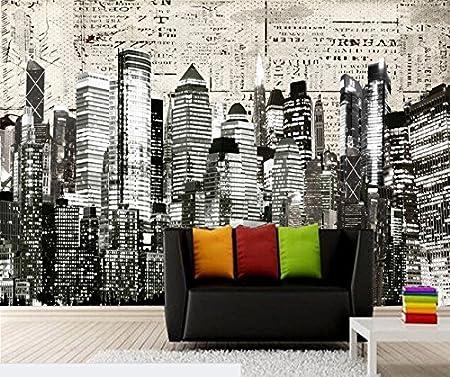 400cmx280cm Custom Black And White Retro Wallpaper New York