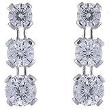 Ivy Gems 9ct White Gold 1.5ct Finest 100 Cut Cubic Zirconia Triple Drop Earrings