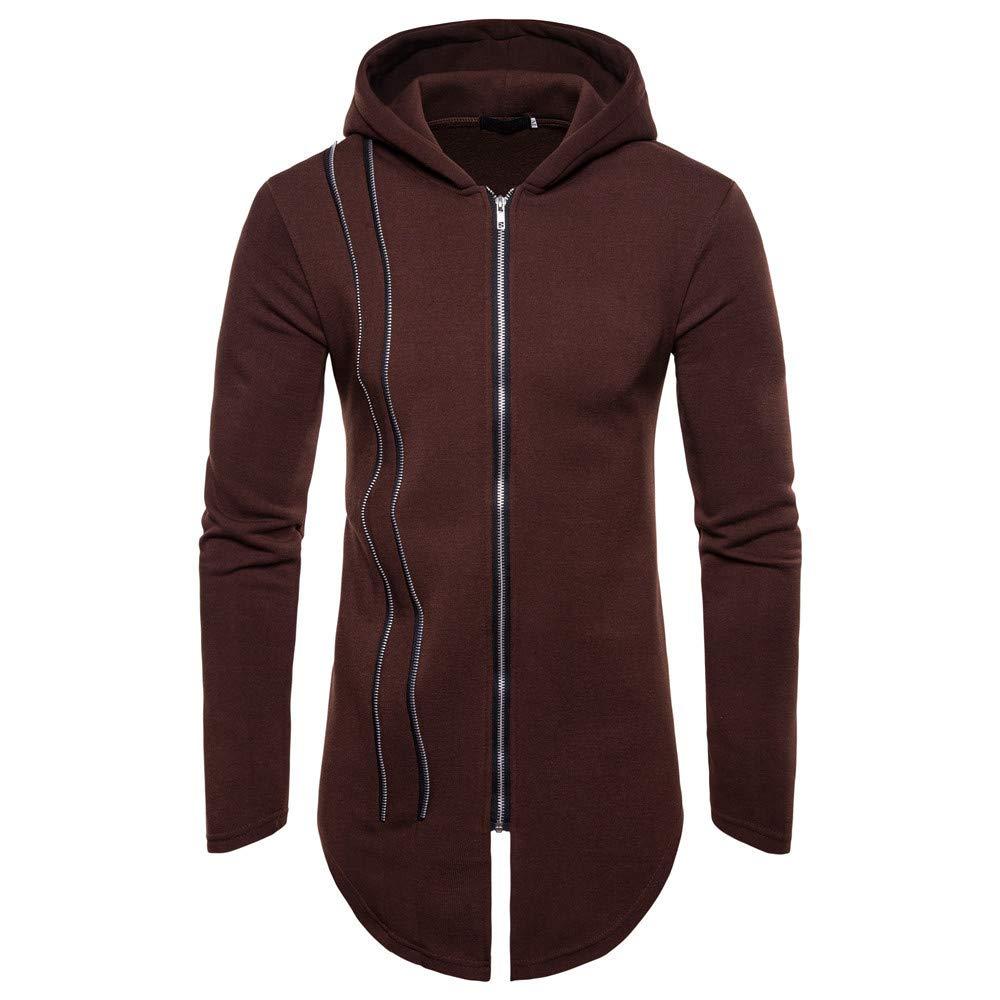 GOVOW Tracksuits for Men Autumn Winter Long Sleeve Zipper Splicing Hoodies Sweatshirt (M,Coffee)