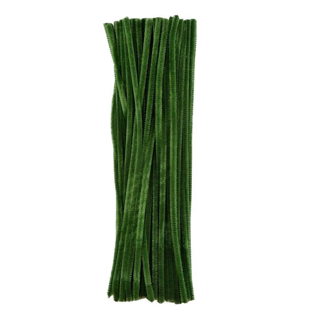 eBoot 100 Pieces Pipe Cleaners Chenille Stem for Arts and Crafts, 6 x 300 mm (Dark Green)