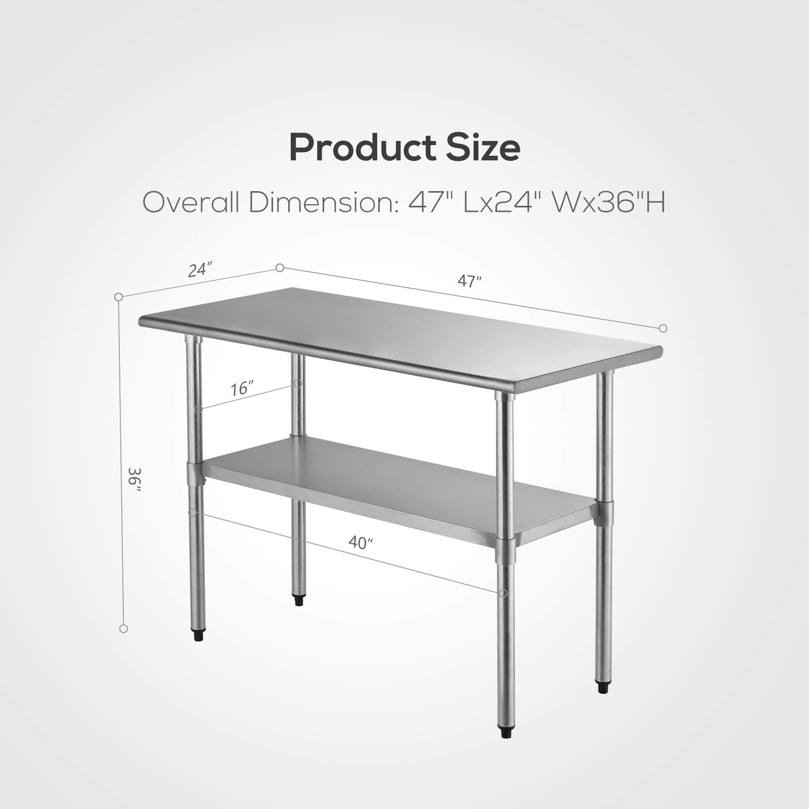 SUNCOO Commercial Stainless Steel Work Table Food Grade Kitchen Prep Workbench Metal Restaurant Countertop Workstation with Adjustable Undershelf 48 in Long x 24 in Deep by SUNCOO (Image #9)