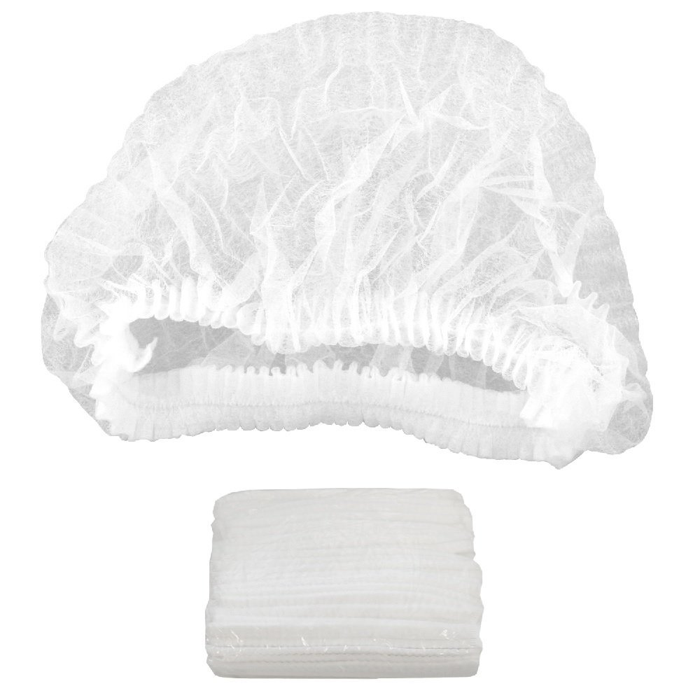 "100 Pack White Mob Caps 21"". Hair Caps with elastic stretch band. Disposable Polypropylene Hats. Unisex Protective Hair Covers for food service. Breathable, Lightweight. Free size. Wholesale price. by ABC Pack & Supply (Image #1)"