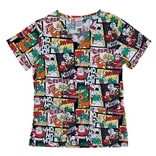 Women's Rudolph The Red-Nosed Reindeer Medical Scrub Shirt Top (Medium) ()