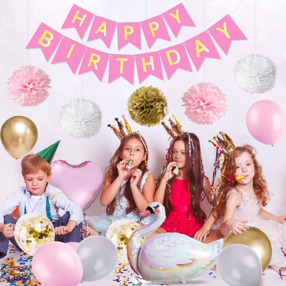 Happy Birthday Banner Balloons Set with Swan Foil Balloon Birthday Party Decorations Girl Heart Balloon Latex Balloons for Girl Girlfriend Daughter Wife Women Cake Topper Paper Pompoms