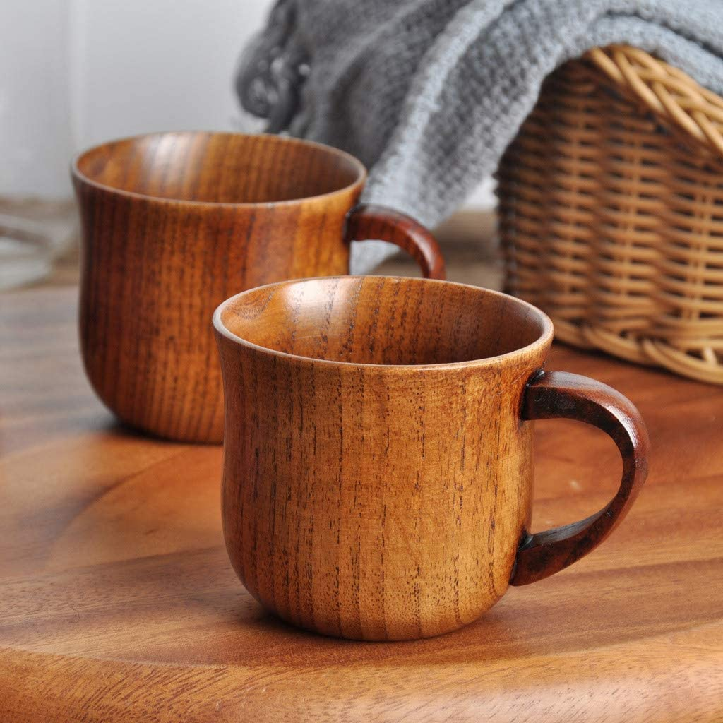 Gotian Natural Wooden Cup Wood Coffee Tea Beer Juice Milk Water Mug Handmade ~ Natural Wooden, Healthy and Natural ~ Creative Wooden Mug Wooden Mug (7.6x6.8cm)
