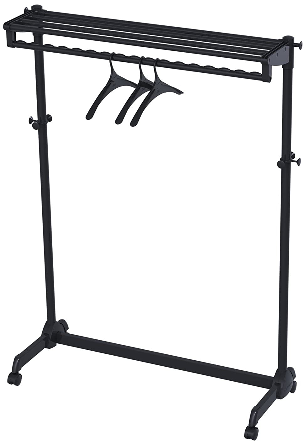Alba PMRAK-SG483N Mobile Garment Rack on wheels in Black, 1 shelf, 8 Hooks for accessories and 3 Hangers B007T6L5S4