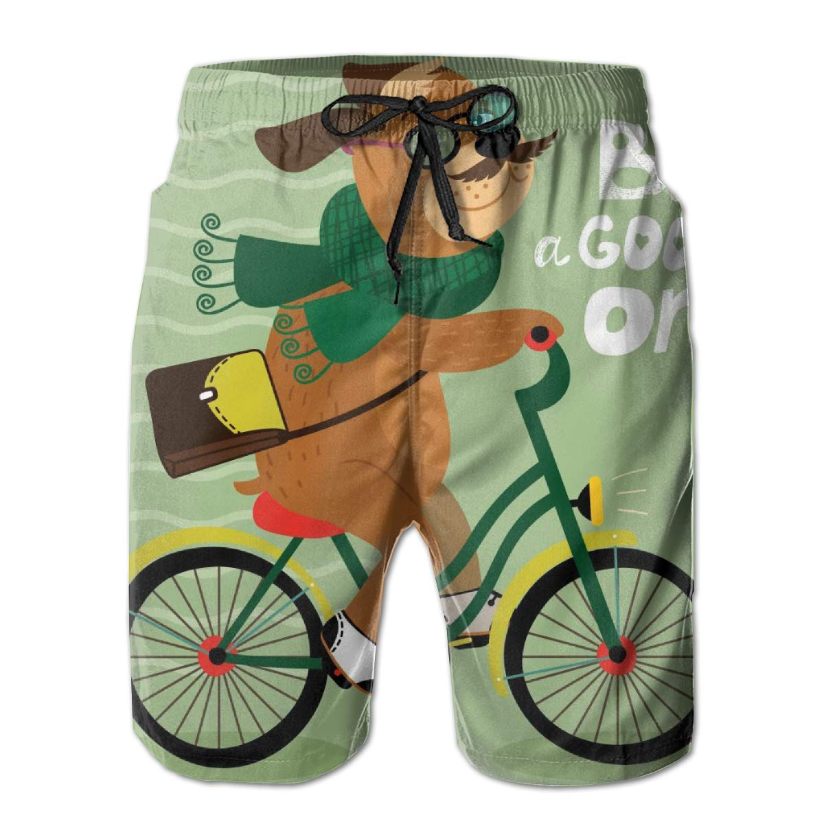 Mens Swim Trunks with Mesh Lining Pockets Cartoon Nerd Dog Riding Bicycle Boys Polyester Board Shorts Swimwear