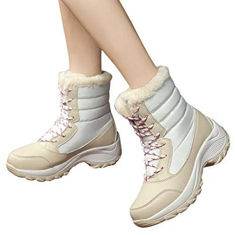 Amazon.com: Caopixx Boots for Womens Winter Back Lace up Boot Snow Boots Non-Slip Waterproof Boots: Clothing