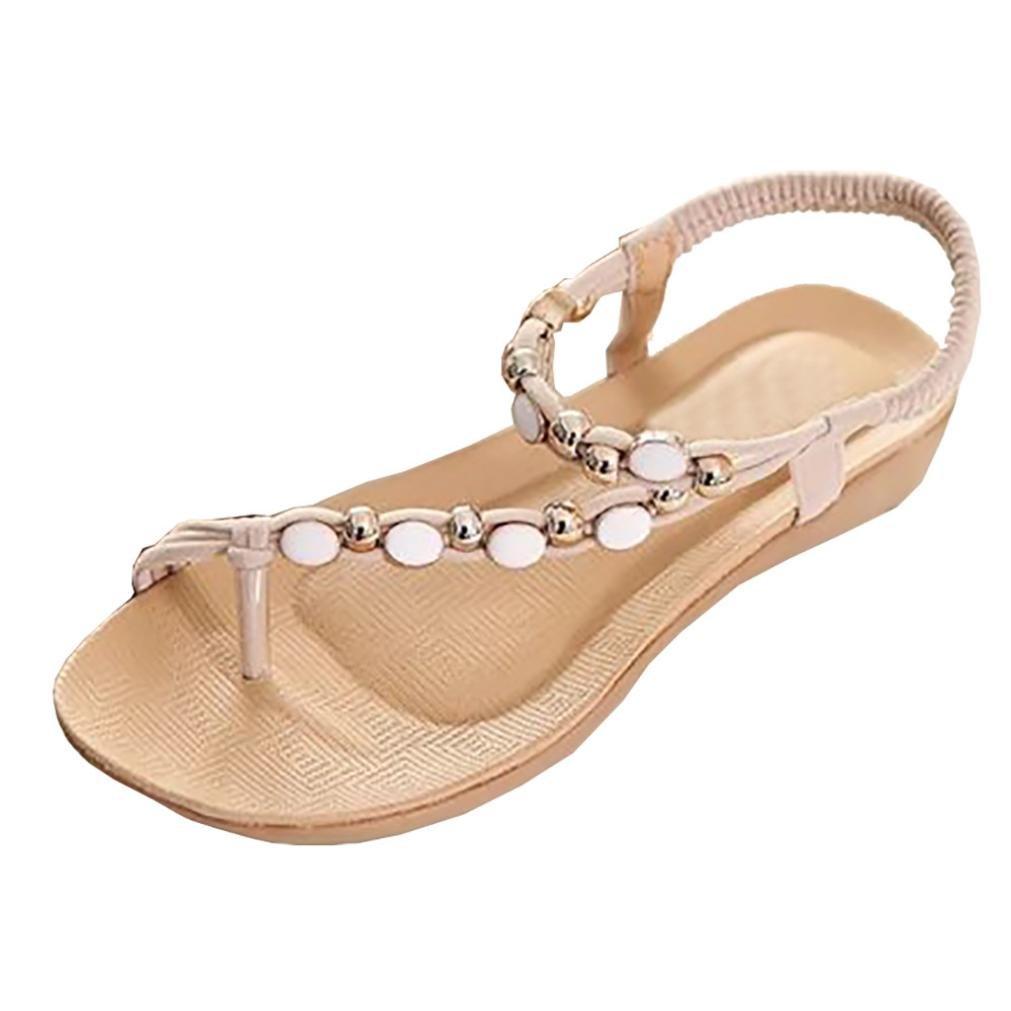 Honestyi Sandalen??Frauen Flache Schuhe Perlen Bouml;hmen Freizeit Sandalen Peep Toe Flip Flops Schuhe Flache Mode Schuhe Leder Flach Boden Hausschuhe Bequeme Schuhe  36 EU|Beige