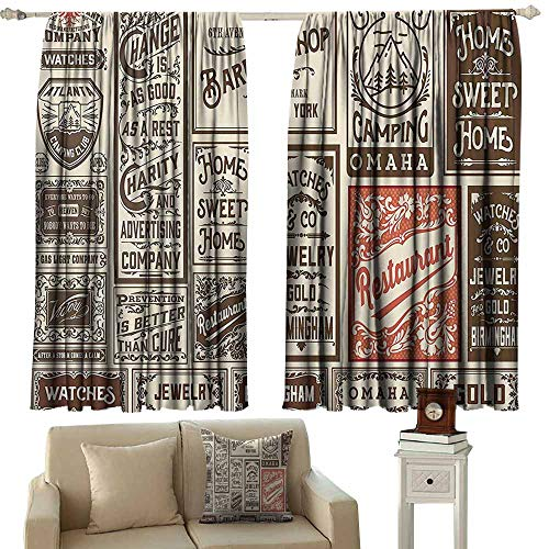 Anyangeight Customized Curtains Brown Vintage,Mega Pack Old Advertisement  Designs And Labels Collections Newspaper Nostalgia