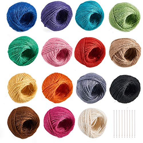 PH PandaHall 15-Color 2mm Jute Twine String Hemp Rope Jute Cord for DIY and Crafts, Gift Wrapping, Artworks, DIY Crafts (25m/ roll, Total 405 Yards) ()
